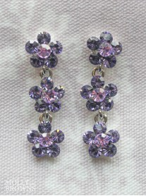 Small Daisy Purple Crystal 3 Drop Earrings