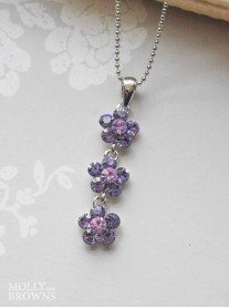 Small Daisy Purple Crystal 3 Drop Necklace