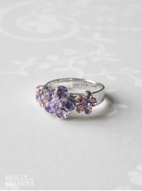 Small Daisy Purple Crystal 3 Flower Ring