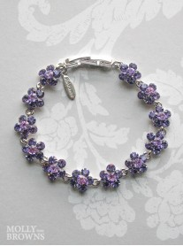 Small Daisy Purple Crystal Bracelet
