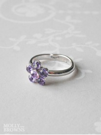 Small Daisy Purple Crystal Ring