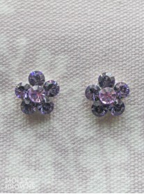 Small Daisy Purple Crystal Stud Earrings