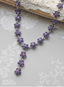 Small Daisy Purple Crystal Y Drop Necklace