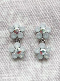Small Daisy White Opal Crystal 2 Drop Earrings