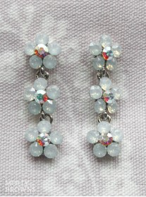 Small Daisy White Opal Crystal 3 Drop Earrings
