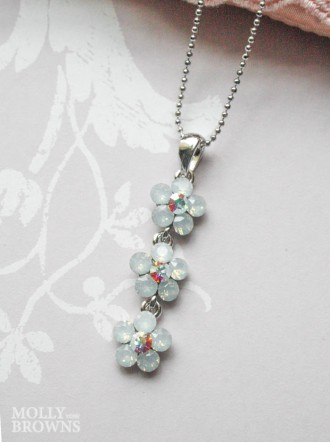 Small Daisy White Opal Crystal 3 Drop Necklace