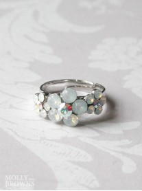 Small Daisy White Opal Crystal 3 Flower Ring
