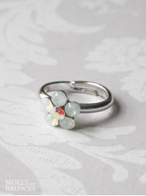 Small Daisy White Opal Ring