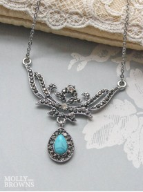 Vintage Diamante Turquoise Marble Necklace