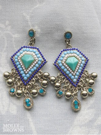 Vintage Gold Blue & Turquoise Drop Earrings
