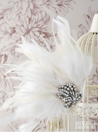 White Feather Diamante Hair Clip