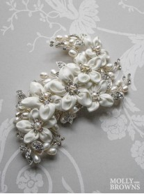 White Flower Diamante Hair Clip