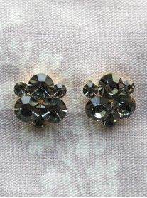 Black Crystal Cluster Gold Stud Earrings