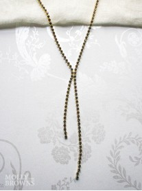 Black Crystal Link Long Gold Necklace