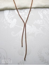 Black Crystal Link Long Rose Gold Necklace