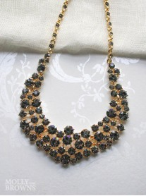 Black Diamante Cluster Gold Statement Necklace