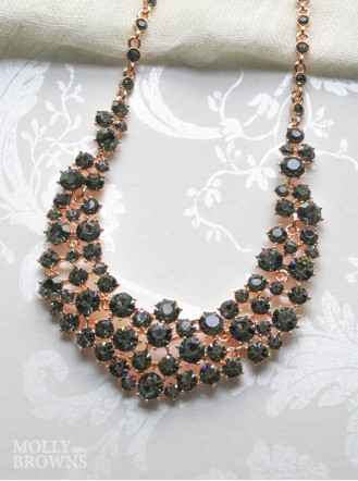 Black Diamante Cluster Rose Gold Statement Necklace