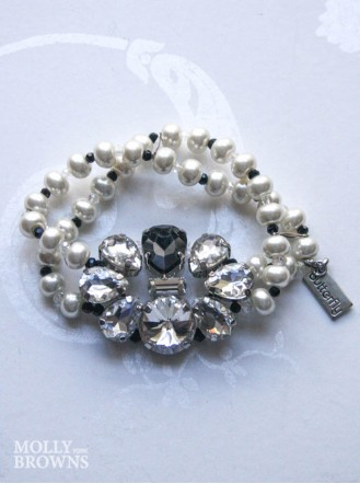 Clear & Black Crystal Pearl Bracelet