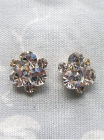 Crystal Cluster Gold Stud Earrings
