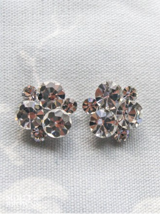Crystal Cluster Silver Stud Earrings
