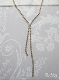 Crystal Link Long Gold Necklace