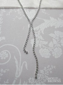 Crystal Link Long Silver Necklace