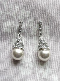 Crystal Single Pearl Drop Earrings