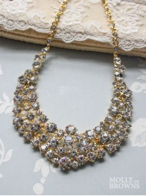 Diamante Cluster Gold Statement Necklace