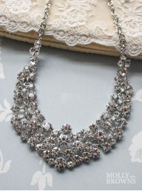 Diamante Cluster Silver Statement Necklace