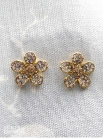 Gold Diamante Flower Stud Earrings