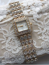 Gold Diamante White Square Watch