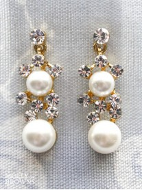 Gold Pearl & Crystal Earrings