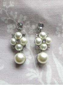 Ivory Pearl Cluster Drop Earrings