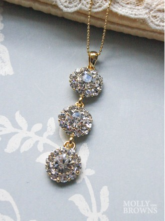 Large Daisy Clear Crystal 3 Drop Gold Necklace