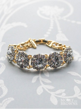 Large Daisy Clear Crystal Gold Bracelet