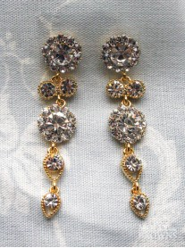 Large Daisy Clear Crystal Large Drop Gold Earrings