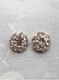 Large Daisy Clear Crystal Stud Gold Earrings
