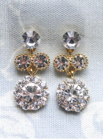 Large Daisy Clear Crystal Medium Drop Gold Earrings