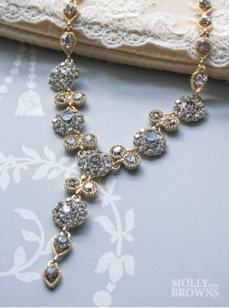 Large Daisy Clear Crystal Y Drop Gold Necklace