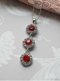 Large Daisy Clear / Red Crystal 3 Drop Necklace