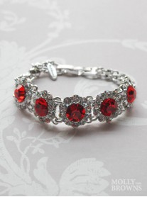 Large Daisy Clear / Red Crystal Bracelet