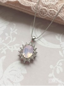 Large Daisy Pink Opal Crystal Pendant Necklace