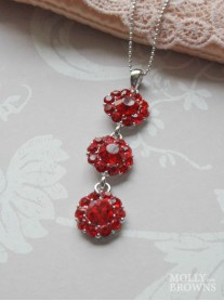 Large Daisy Red Crystal 3 Drop Necklace
