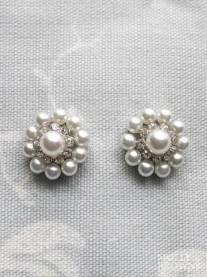 Large Pearl Diamante Cluster Earrings - Silver