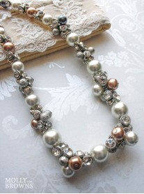 Pearl & Diamante Silver Beaded Necklace