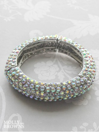 Silver AB Crystal Bangle Bracelet