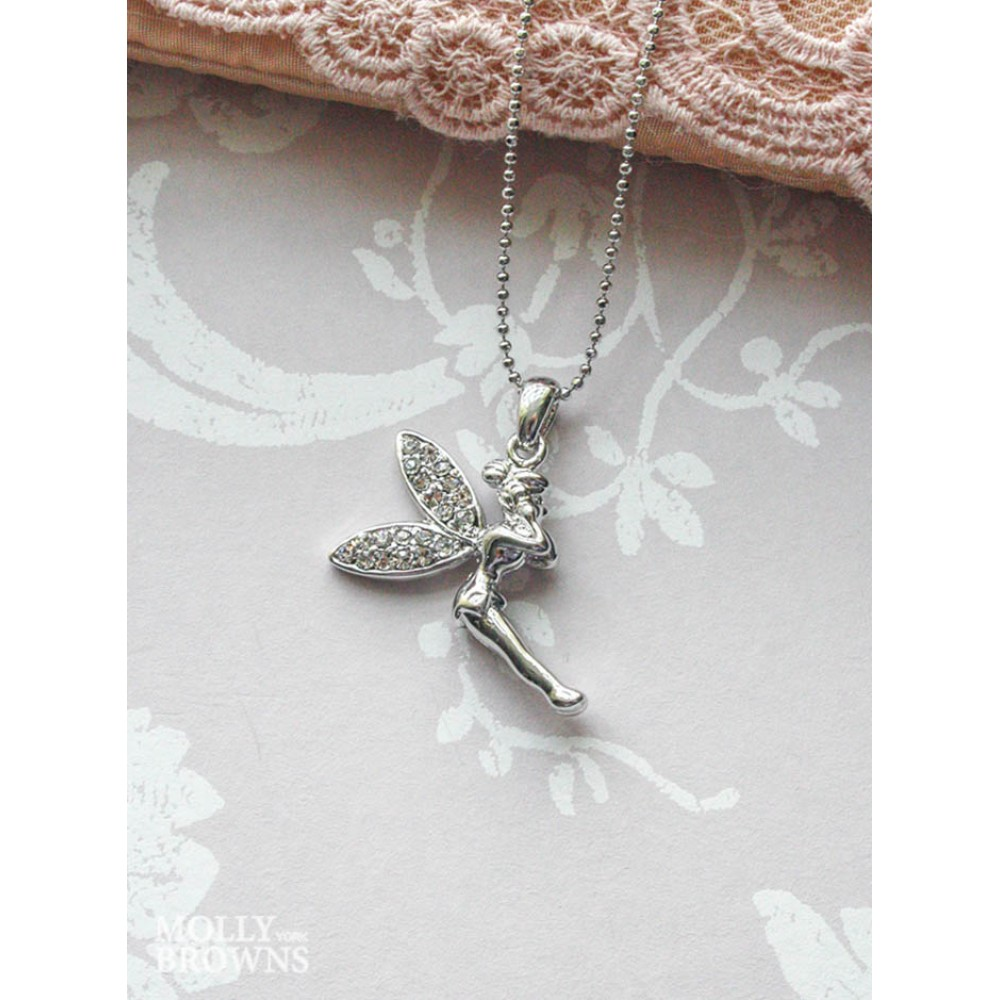 Silver clear diamante fairy pendant necklace jewellery by molly browns silver clear diamante fairy pendant necklace aloadofball Image collections