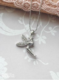 Silver Clear Diamante Fairy Pendant Necklace
