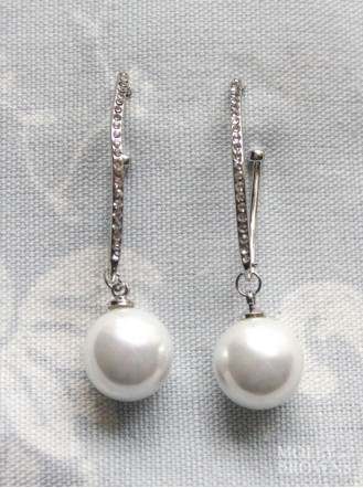 Silver Diamante & Pearl Drop Earrings