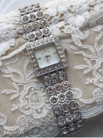 Silver Diamante Square Watch